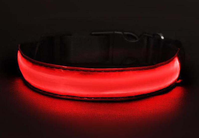 1326fb8d5b Obojok pre psa svietiaci LED červený M