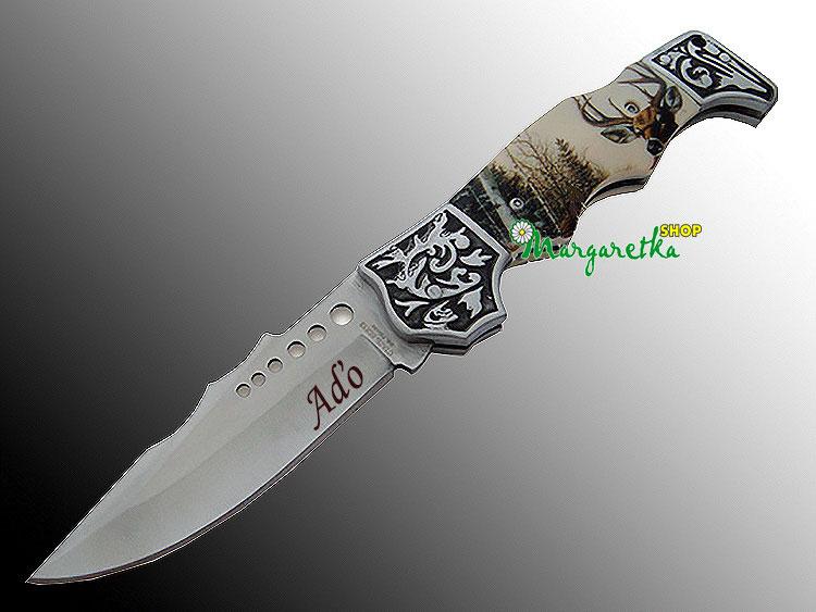 Nôž poľovnícky skladací Jeleň s gravírovaním textu  648452b7d03