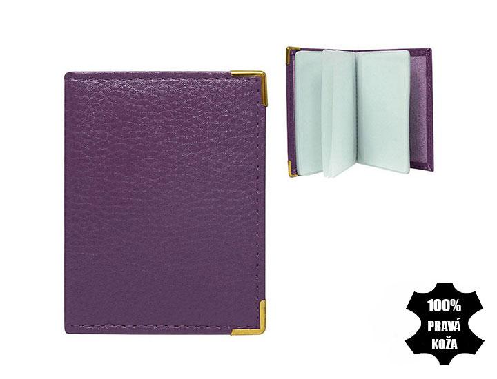 Kožené púzdro na kreditné karty fialové