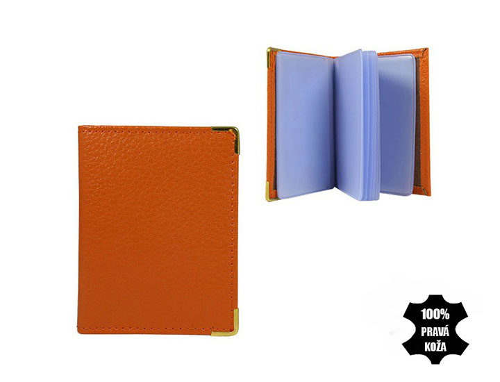 Kožené púzdro na kreditné karty oranžové
