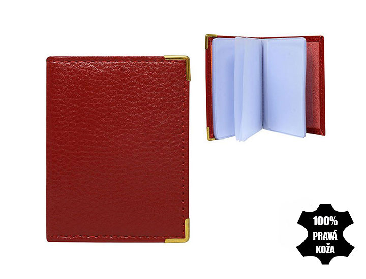 Kožené púzdro na kreditné karty červené