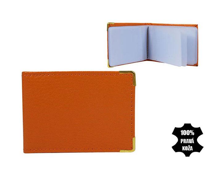 Kožené púzdro na kreditné karty 302 oranžové