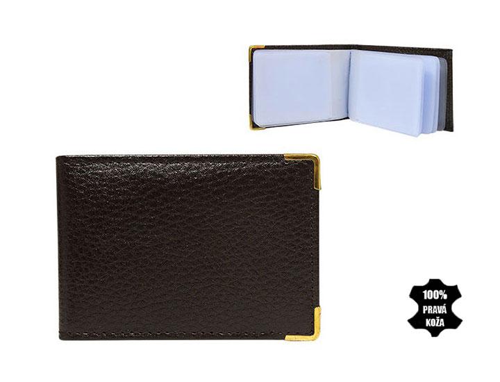 Kožené púzdro na kreditné karty 302 tmavohnedé