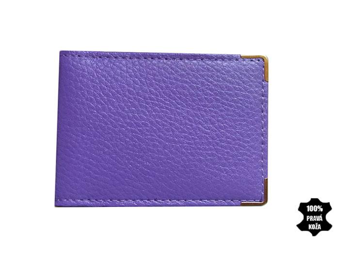 Kožené púzdro na kreditné karty 302 fialové