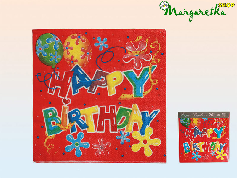 Servítky 33x33cm 20ks Happy birthday red