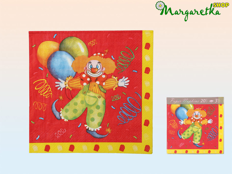 Servítky 33x33cm 20ks Clown red