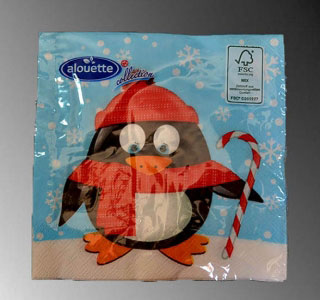Servítky Christmas penguin 25x25 20ks